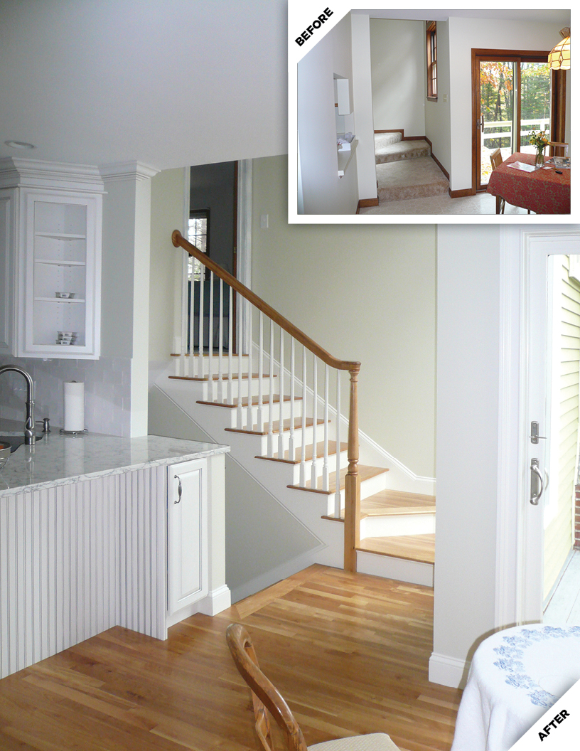 Entry and Staircase Before and After Renovation