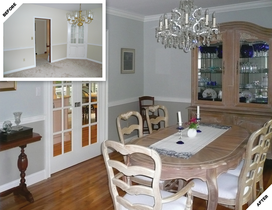 Dining Room Before and After Renovation
