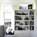 Livingroom bookcase at Pine Point, Custom Home Construction in Southern Maine