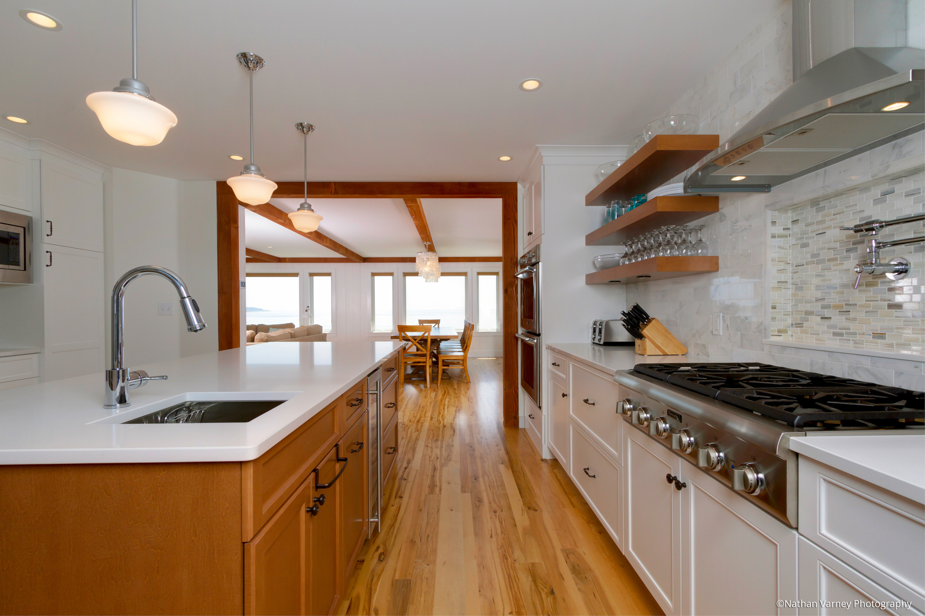 Modern Galley Kitchen, Custom Home Construction In Southern Maine