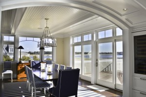 Dining room arch at Pine Point, Custom Home Construction in Southern Maine