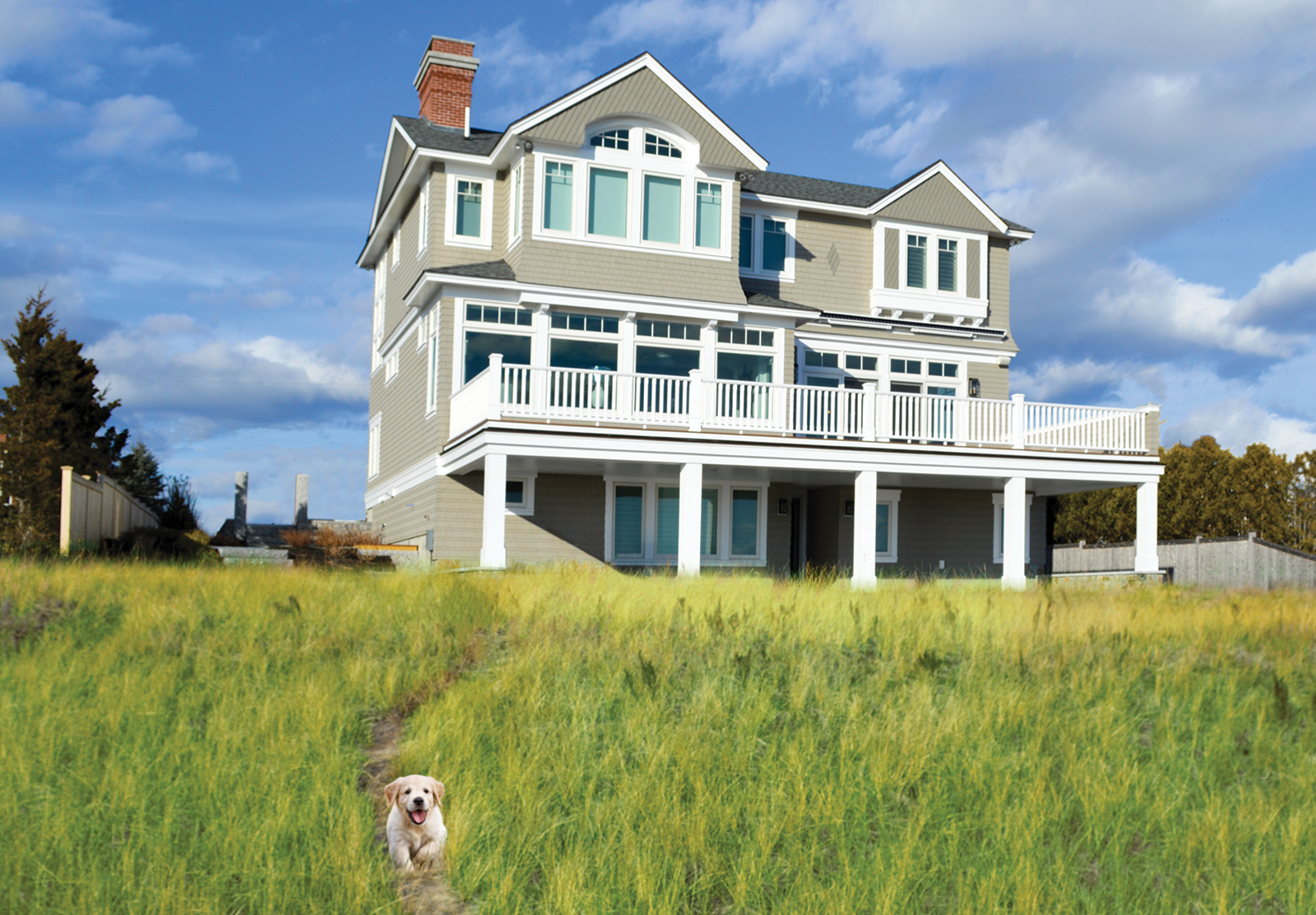 Exterior beachside view at Pine Point, Custom Home Construction in Southern Maine