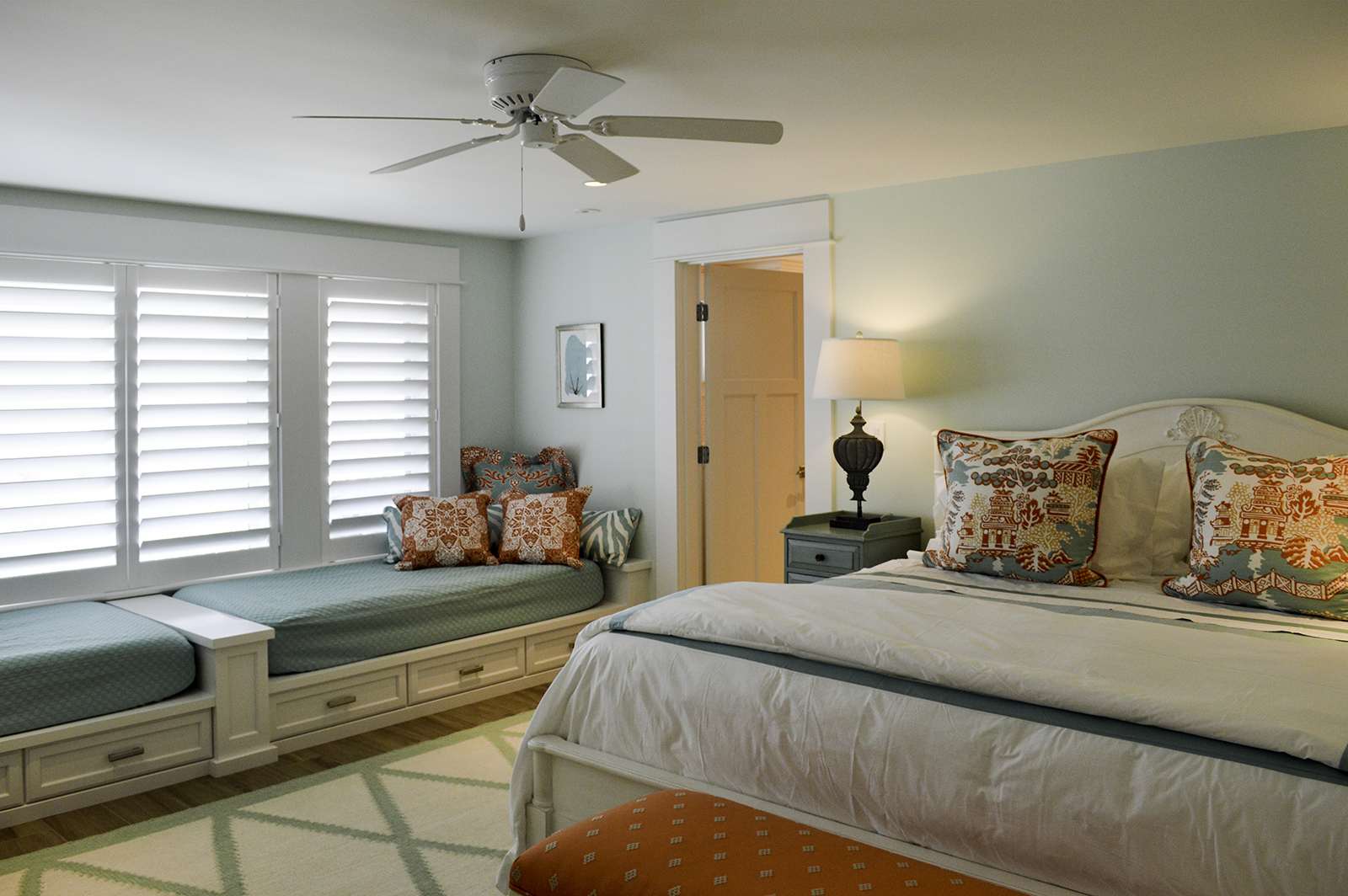 Lower level guest room at Pine Point, Custom Home Construction in Southern Maine