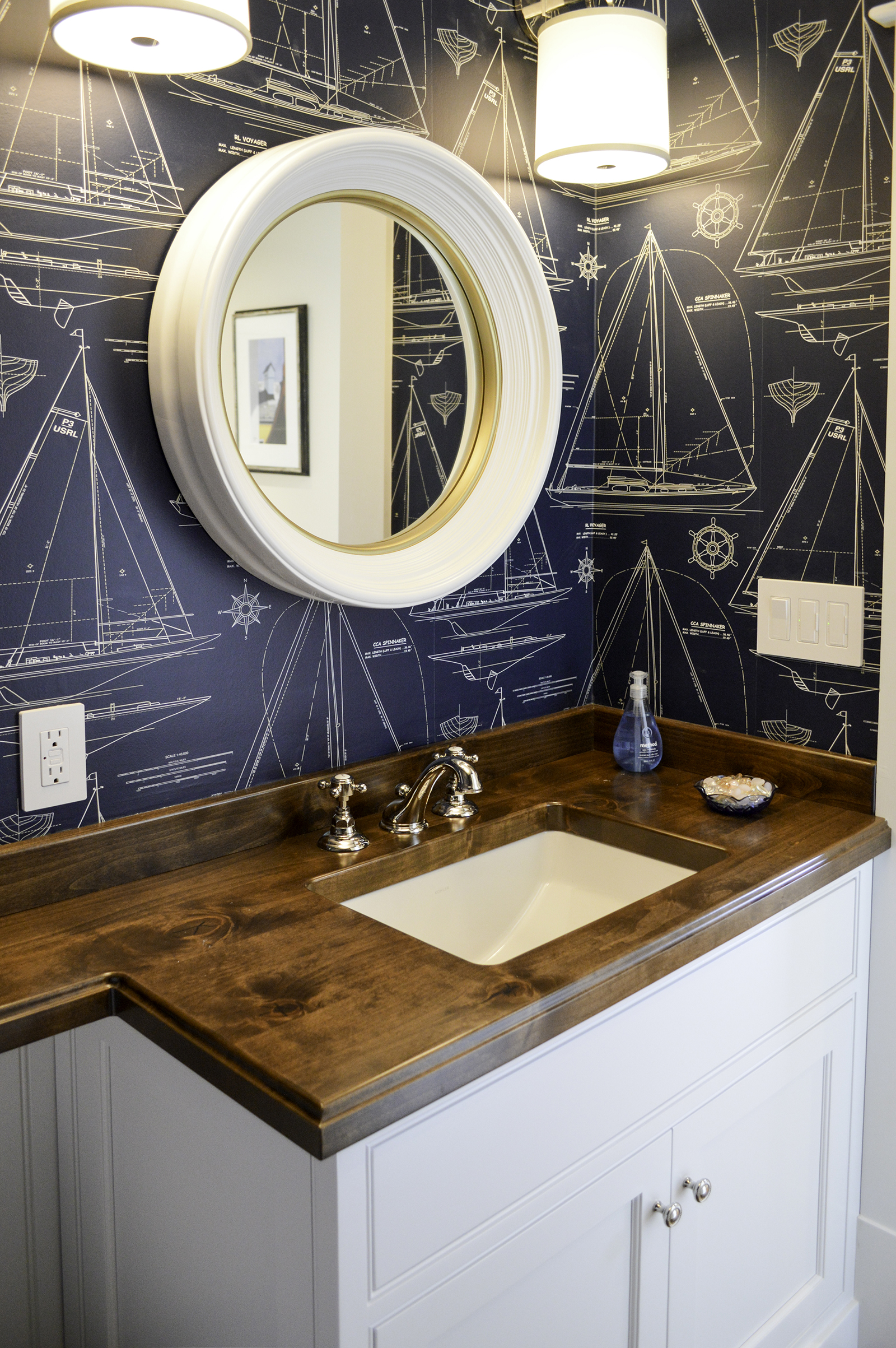 Powder room at Pine Point, Custom Home Construction in Southern Maine