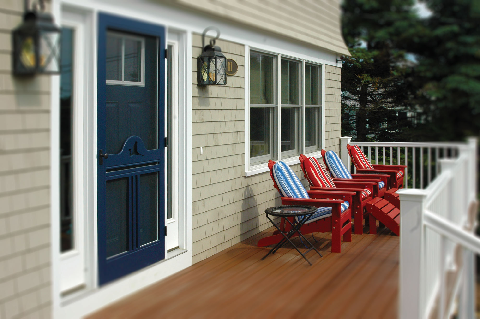 Entry Porch at Granite Point, Custom Home Construction in Southern Maine