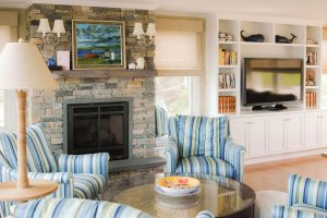 Living Room at Granite Point, Custom Home Construction in Southern Maine