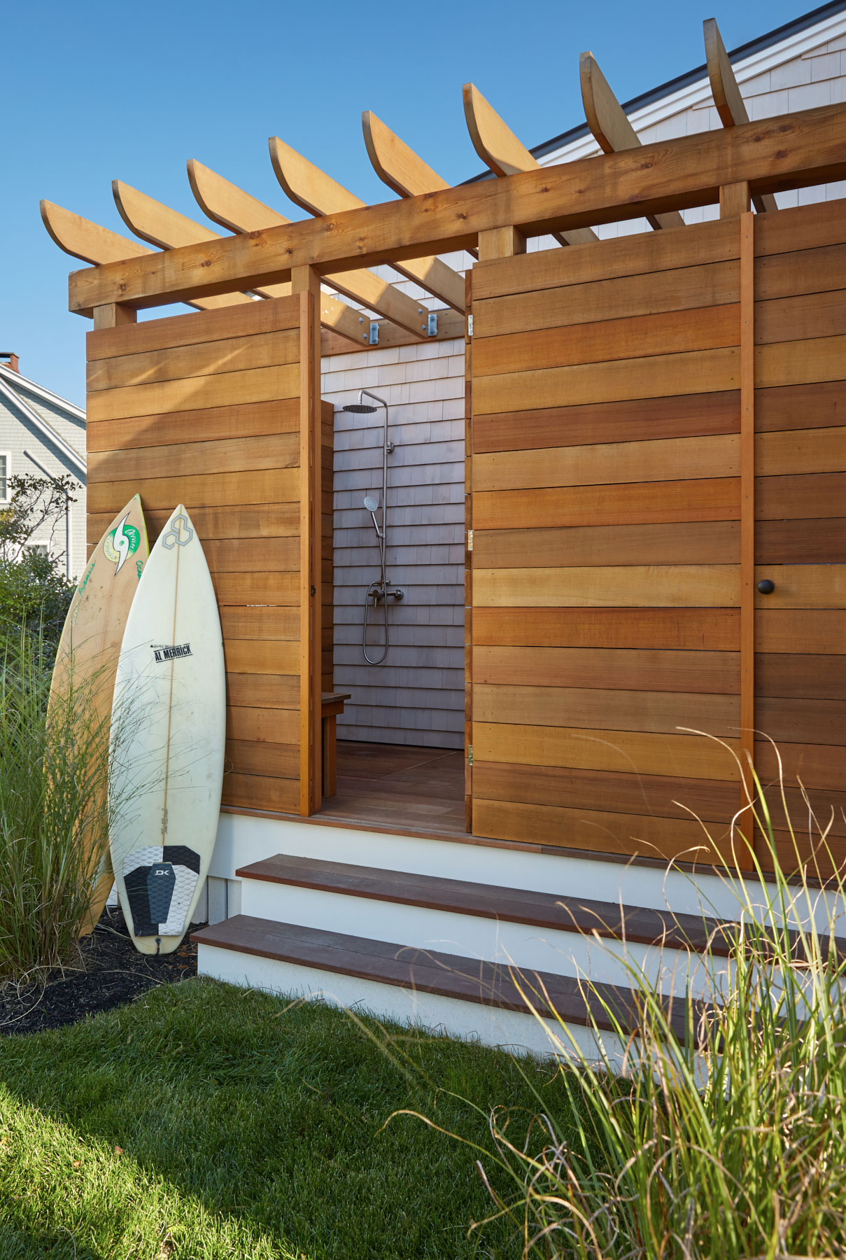 Outdoor Shower, Custom Home Construction in Southern Maine