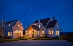 Exterior at Dusk, Custom Home Construction in Southern Maine